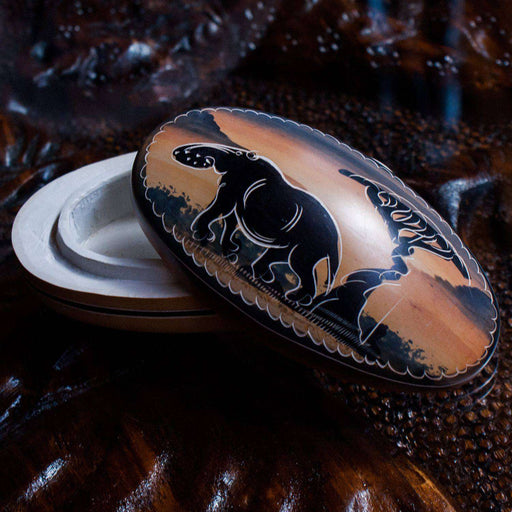 Decorated Trinket/Jewelry Box small - Elephant Design - Africa Handmade