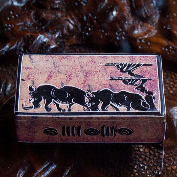 Decorated Trinket/Jewelry Box small - Set of 2 - Africa Handmade