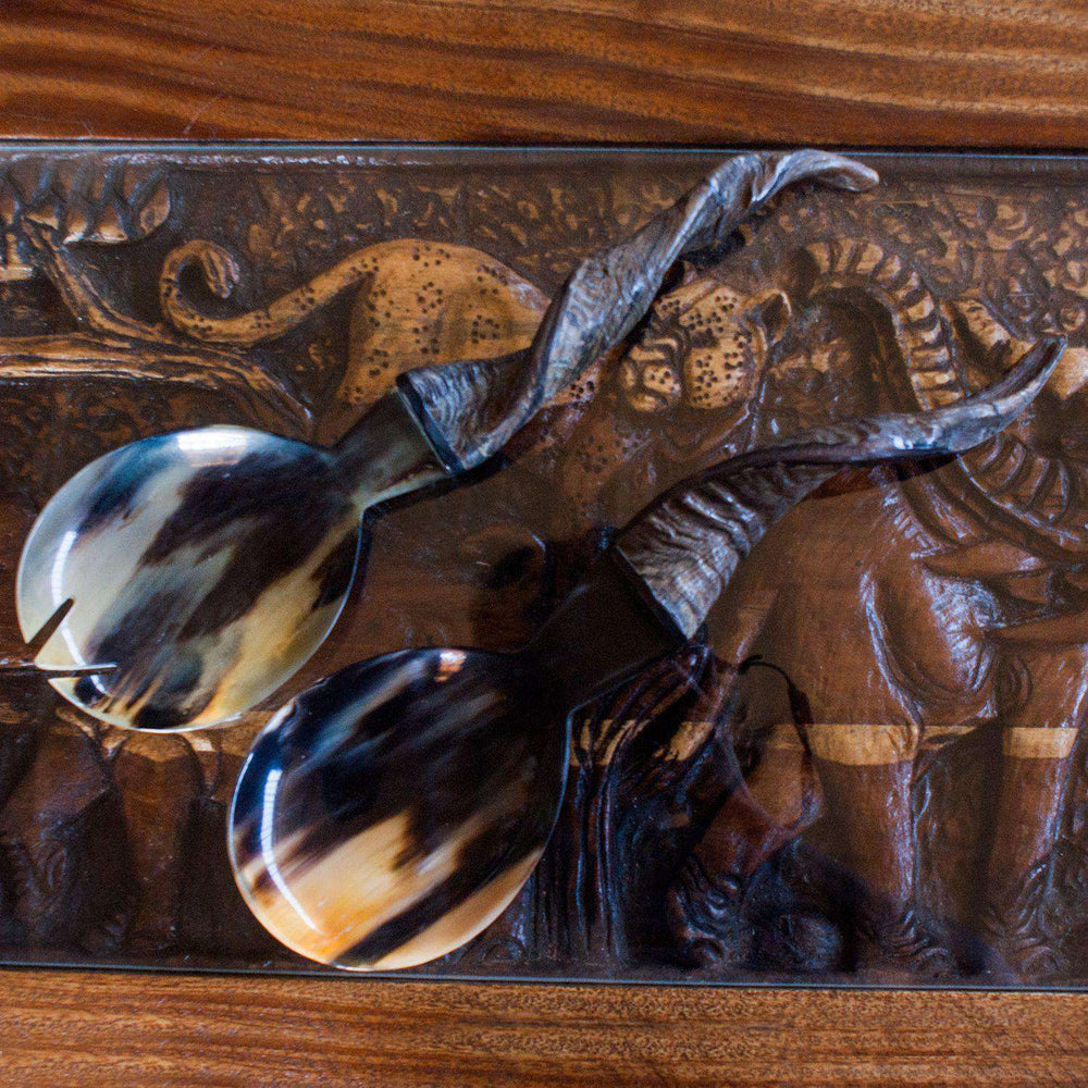 Hand Carved African Salad Fork and Spoon with Horn Handles - Africa Handmade