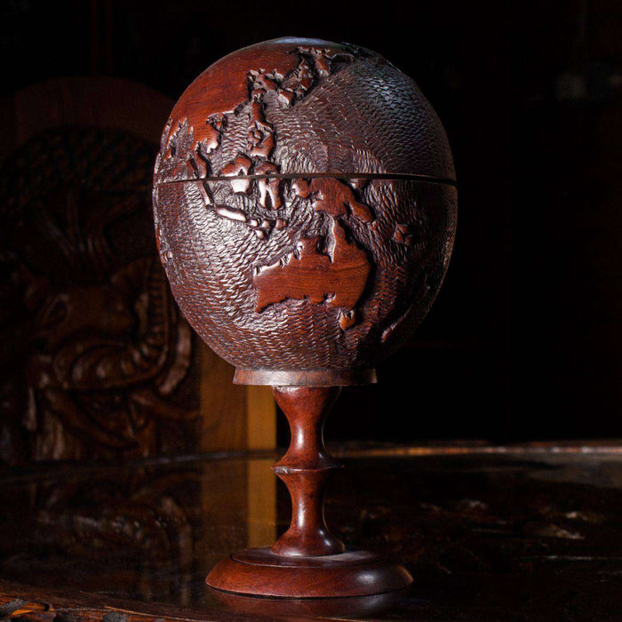 Hand carved Globe Storage Wood - Africa Handmade