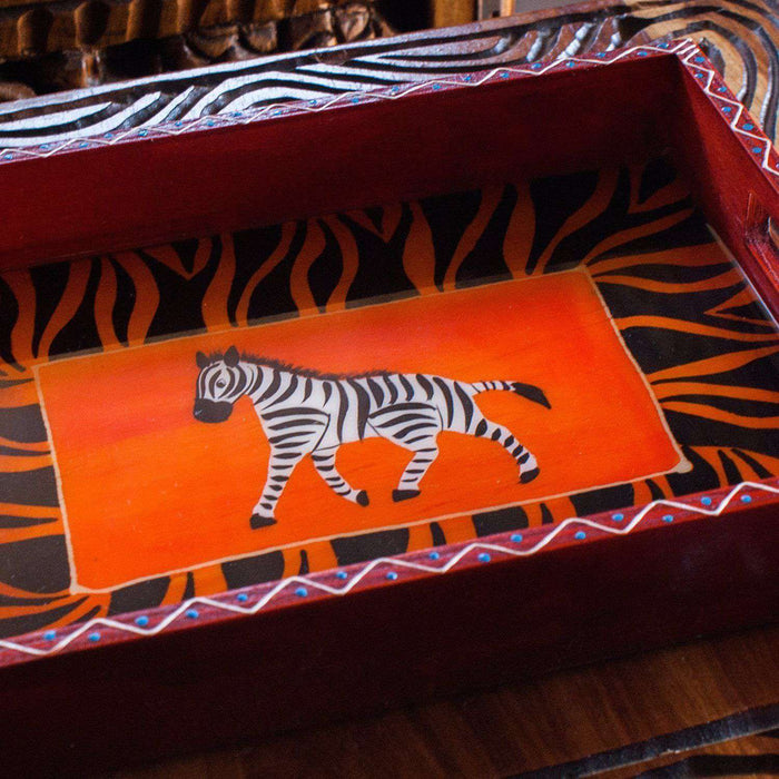 Hand Painted Serving Tray - Africa Handmade