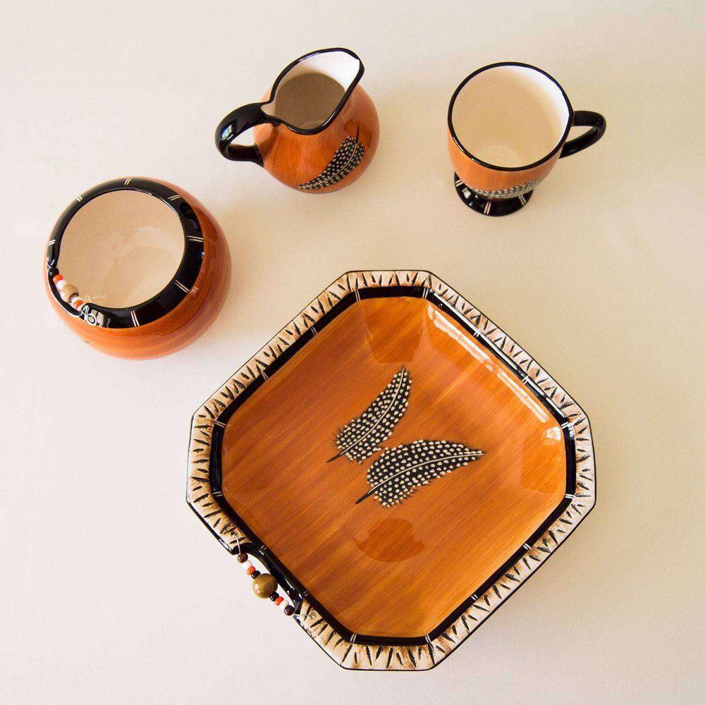 Miscellaneous Collection Dark Feather Themed Ceramic Ware - Africa Handmade