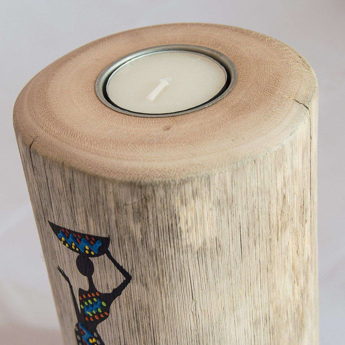 Wooden Tree Light Candle Holder Nguni Lady (Large) - Africa Handmade