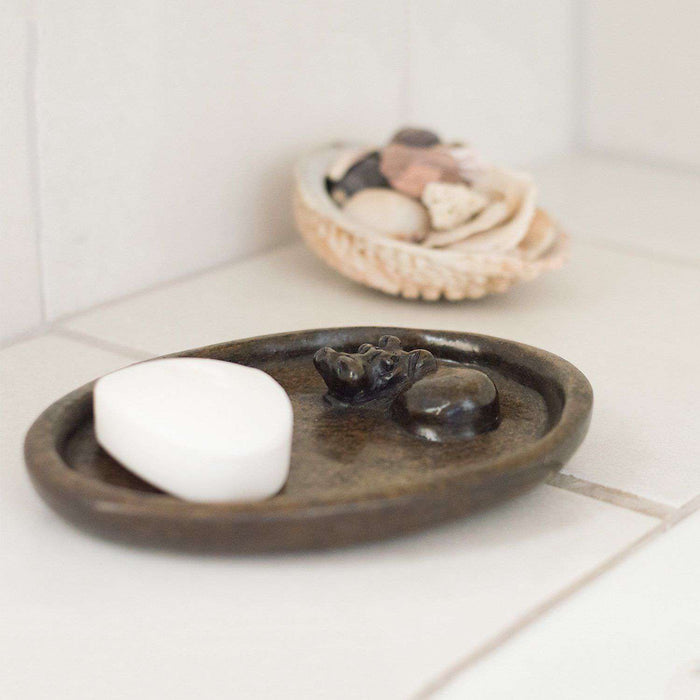 Bathing Hippo Soap Dish - Original Natural Green Ngaka Stone - Africa Handmade