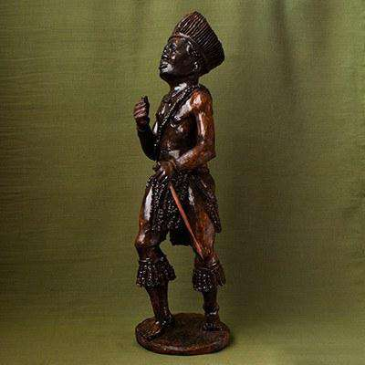 African Man at Traditional Ceremony Iron Wood - Africa Handmade