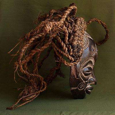 Chokwe Tribal Mask (D.R. Congo) Female Ceremonial - Africa Handmade