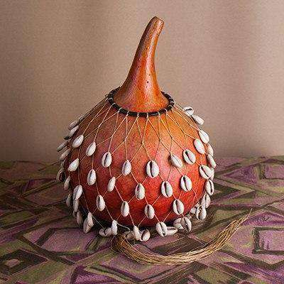 Dried Hollow Gourd Musical Drum with Cowry Shells - Africa Handmade