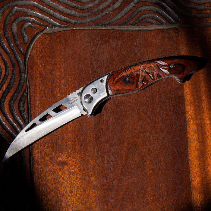 Hand Carved Wooden Handle Folding Pocket Knife (Elephant) - Africa Handmade
