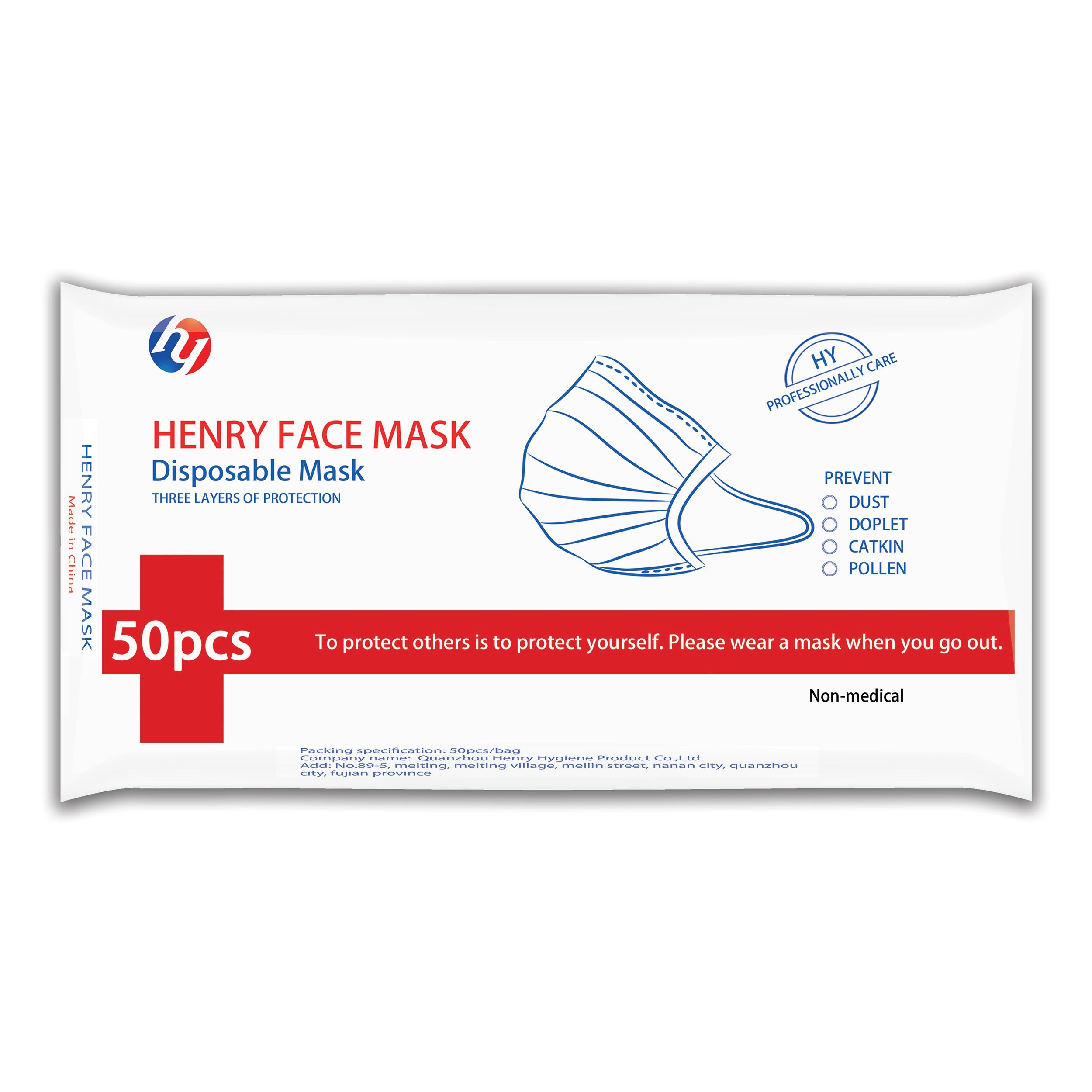3 PLY FILTER DISPOSABLE EARLOOP FACE MASKS 50Pcs