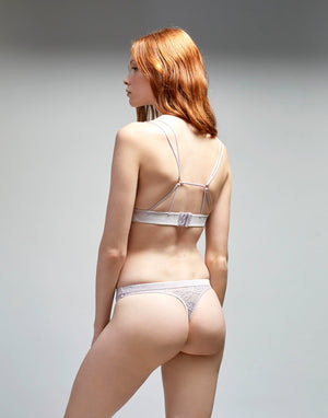 Lace with Velvet Trim Thong