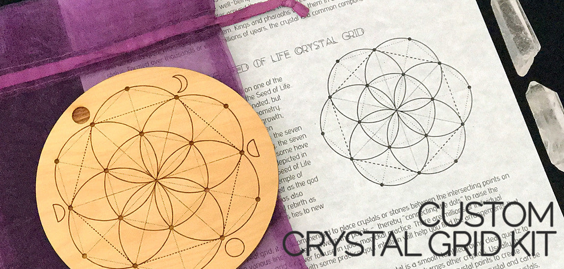Crystal Grid Kit With Moon Phases - Seed Of Life Crystal Grid