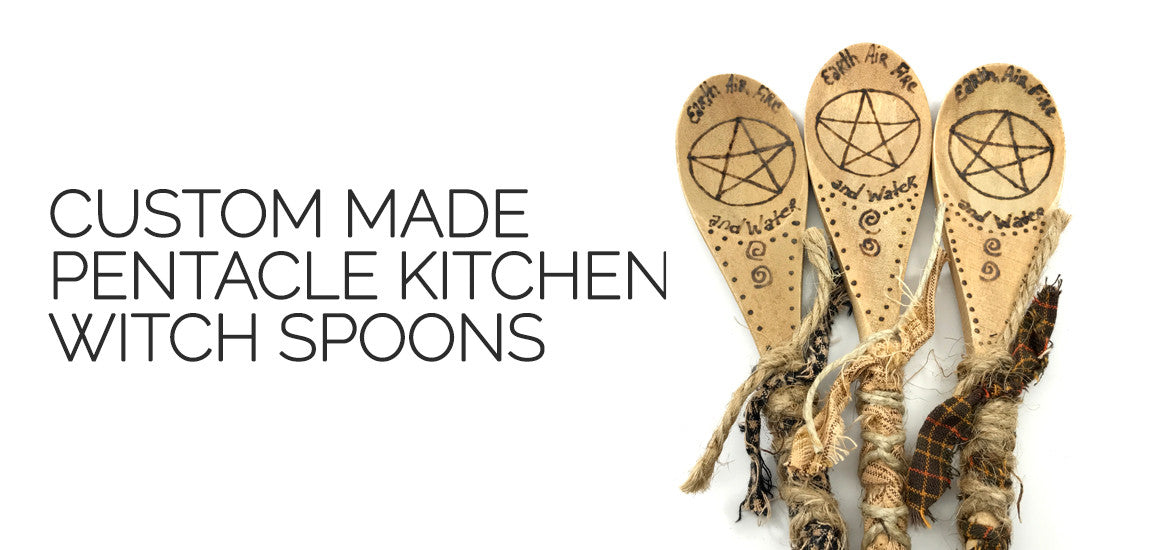 Kitchen Witch Spoons - Pentacle Kitchen Witch Spoons - Lammas Sabbat Box