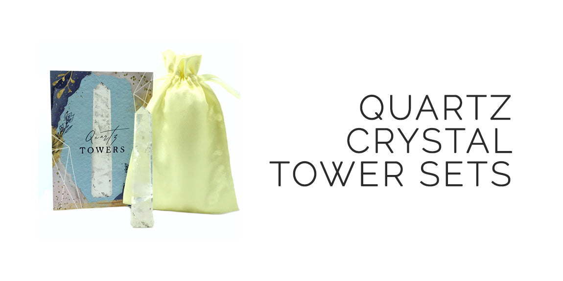 Quartz Crystal Tower Set With Info Card and Bag By Sabbat Box