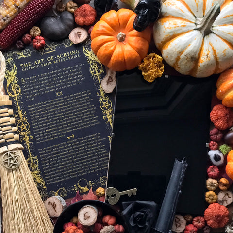 Witches Scrying Mirror Set With Info Card and Black Bag - Scrying Set - Sabbat Box