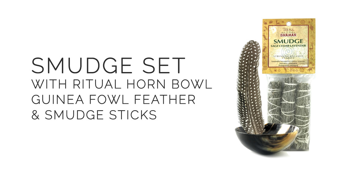 Sabbat Box Smudge Set With Smudge Sticks Ritual Horn Bowl and Feather