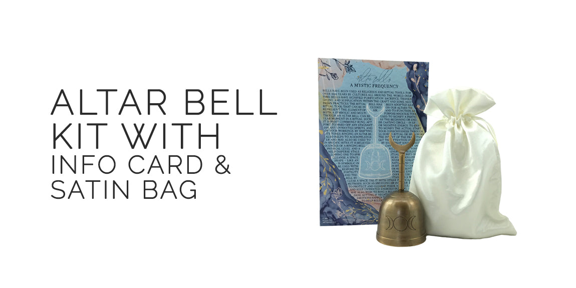 Triple Moon Altar Bell Kit With Info Card and Satin Bag - By Sabbat Box