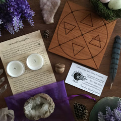 Wiccan Elemental Charging Plate With Element Alchemy Symbols By Alaska Laser Maid Featured Inside the 2018 Elemental Magick Ostara Sabbat Box