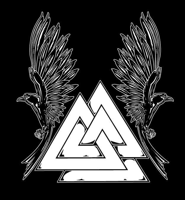 Asatru Norse Valknut T-Shirt With Ravens Pagan Shirts