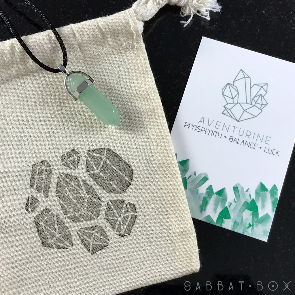 Aventurine Crystal Point Necklace - Crystal Intention Necklace - Sabbat Box