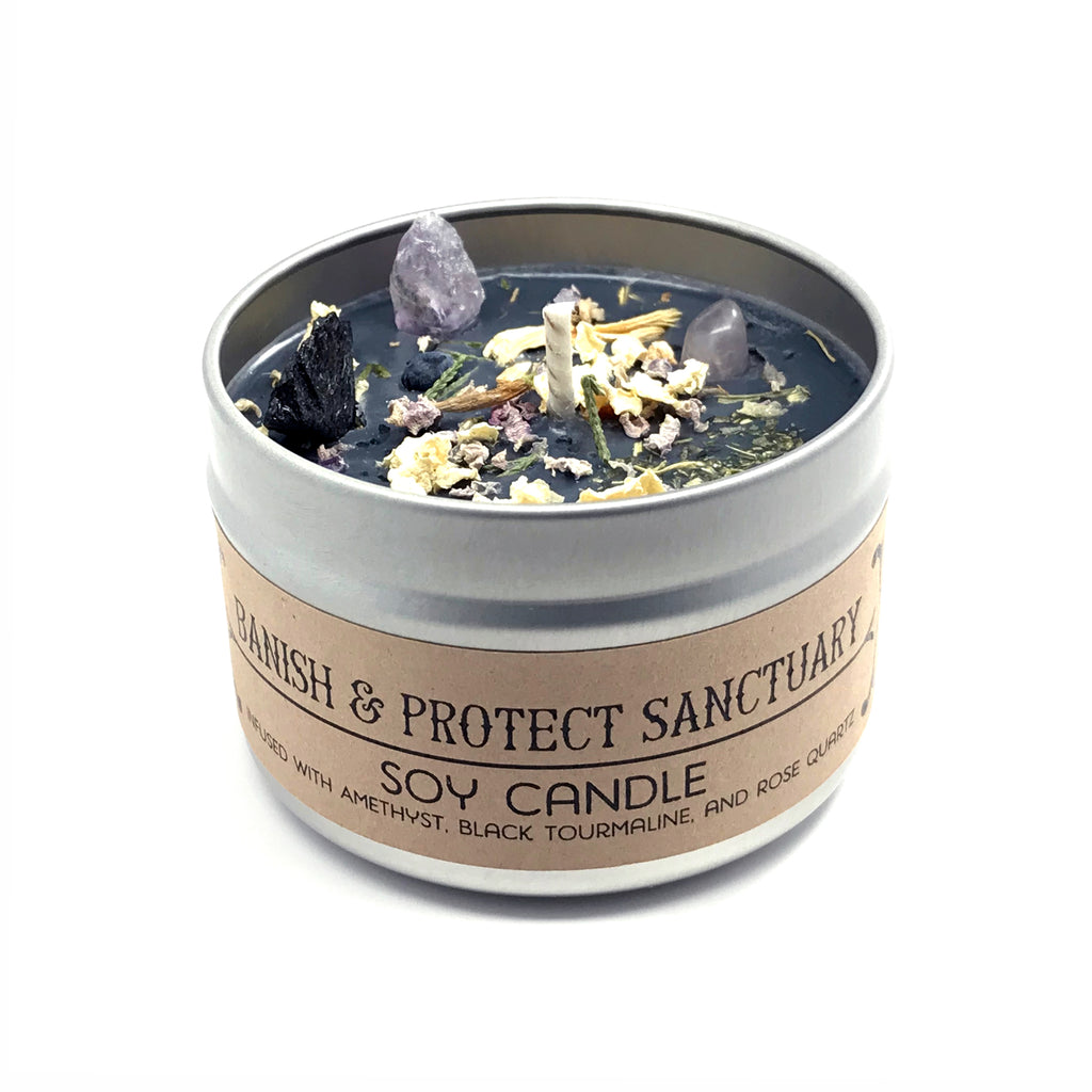 Banish and Protect Sanctuary Crystal and Herb Infused Spell Candle By House of Good Juju
