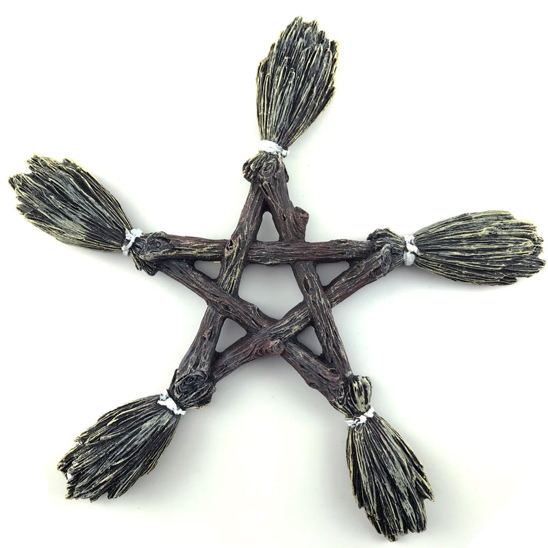 Witches Besom Pentacle Plaque - Sabbat Box