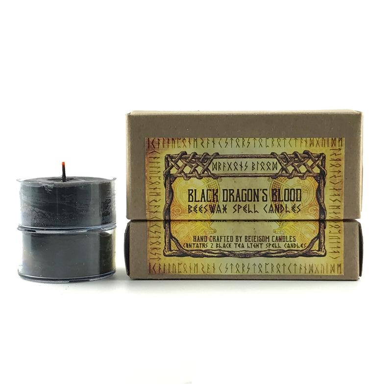 Dragon's Blood Black Beeswax Tealight Spell Candles - 2 pack - Sabbat Box