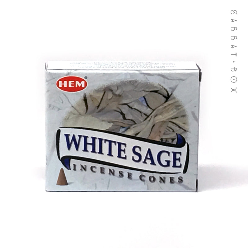 White Sage Cone Incense by HEM 10 Pack