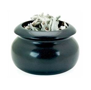 Black Stone Smudge Pot