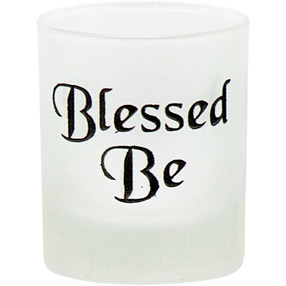 Blessed Be Votive Candle Holder On Frosted Glass
