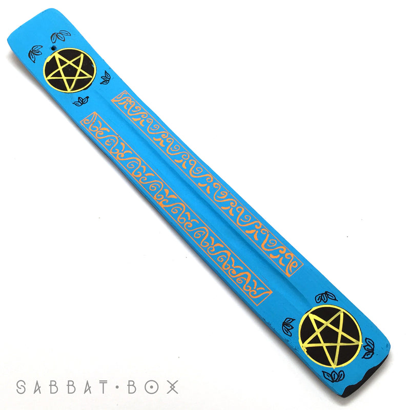 Blue Hand Painted Pentacle Stick Incense Ash Catcher