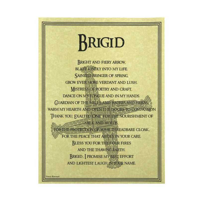 Brigid Prayer Parchment - Brigid Book of Shadows Page - Sabbat Box