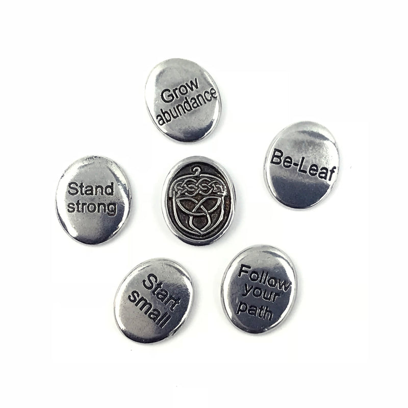 Bits of Strength - Celtic Knot Pocket Stone Affirmations (set of 5) By Deva Designs - Sabbat Box