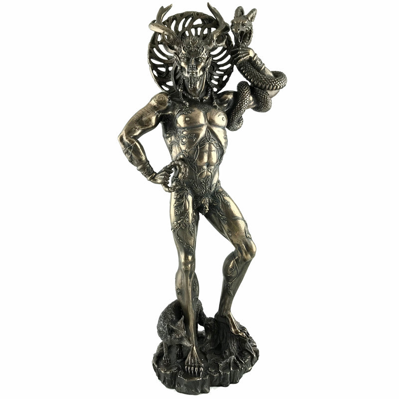 Celtic Horned God Cernunnos Statue - Cold Cast Bronze - 18""