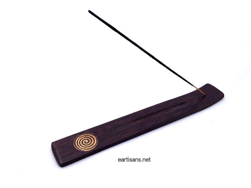 Hand Carved Spiral Coconut Wood Stick Incense Holder
