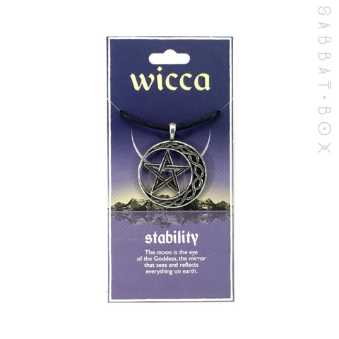 Pentacle Crescent Moon Pewter Amulet Necklace - Stability