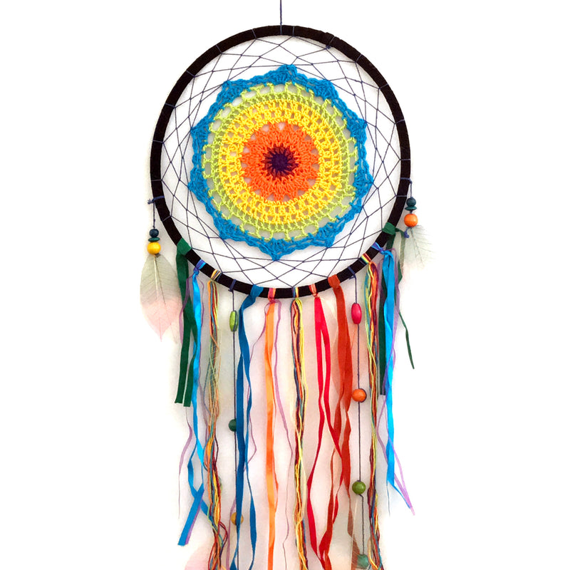 "Rainbow Crochet Boho Dreamcatcher - 31.5"" - Handmade Boho Dreamcatcher - Sabbat Box"