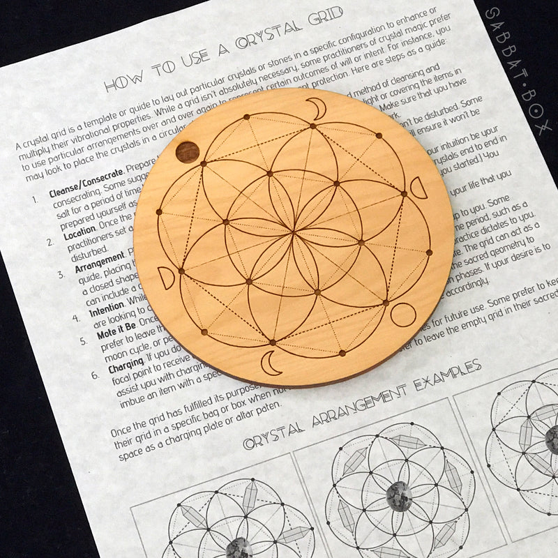 Wooden Seed Of Life Crystal Grid With Moon Phases and Instructions