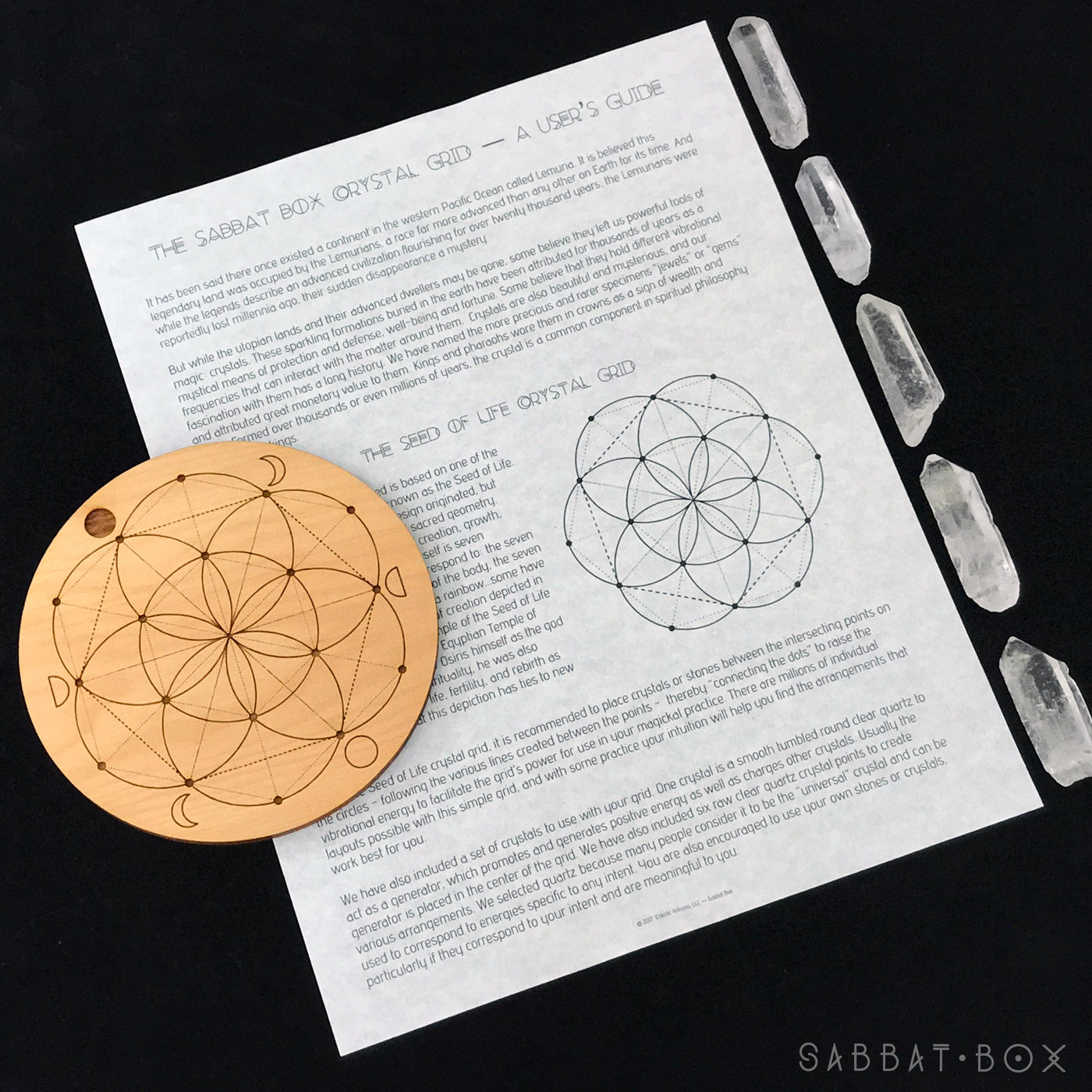 Wooden Seed Of Life Crystal Grid W Moon Phases Sabbat Box Lunar Diagram With And Instructions
