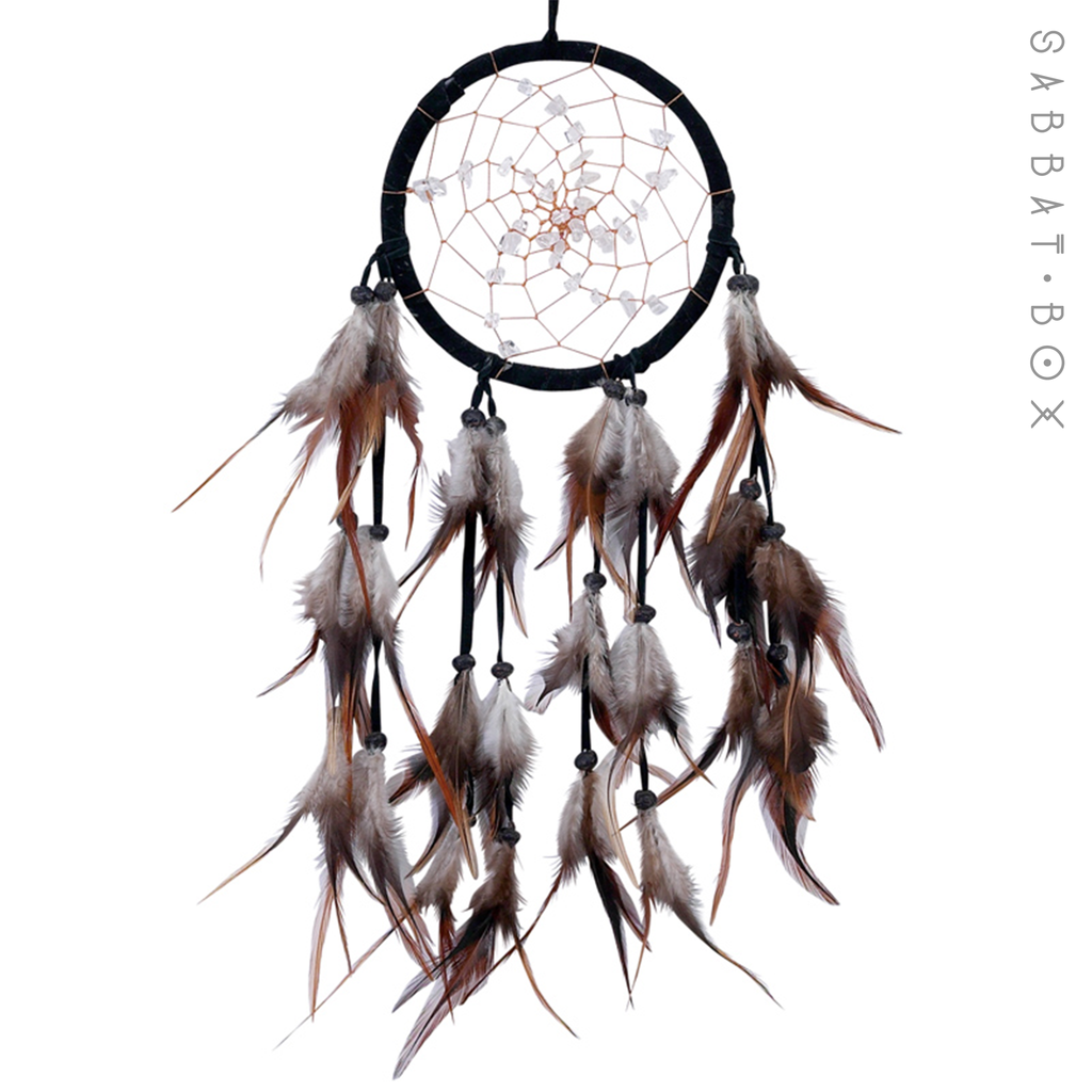 Hand Crafted Spiral Dreamcatcher With Quartz Crystals
