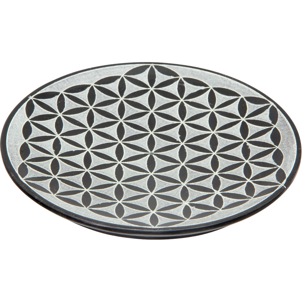 Flower of Life Soapstone Offering Bowl, Offering Plate, Charging Plate - Sabbat Box