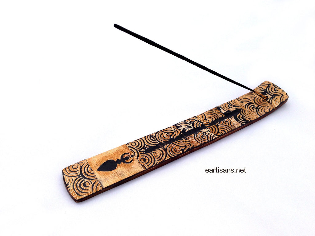Horn and Wood Hand Carved Goddess Stick Incense Holder