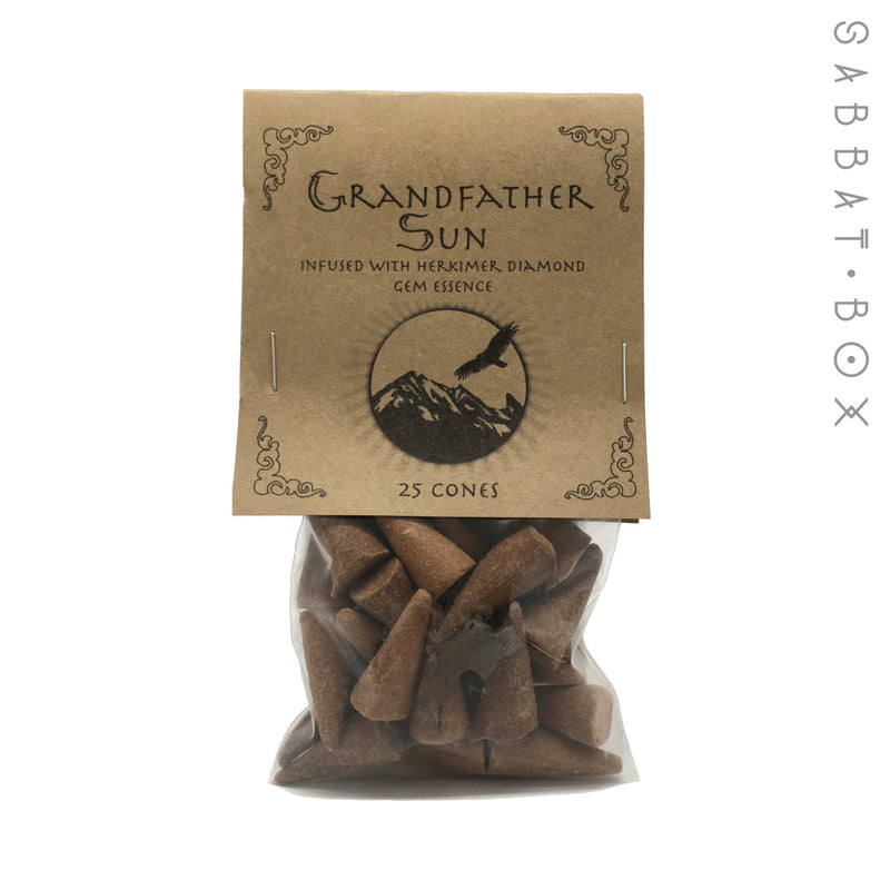 Grandfather Sun Cone Incense - 25 Pack - Higher Mind Incense