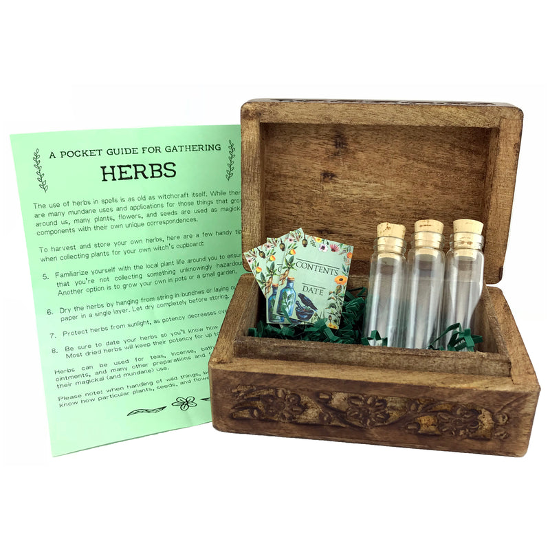 Green Witches' Herb Chest With Glass Vials and Labels - Sabbat Box