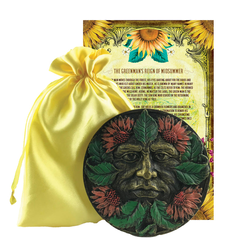 Midsummer Greenman Altar Plaque Set w/Info Card and Bag - Sabbat Box