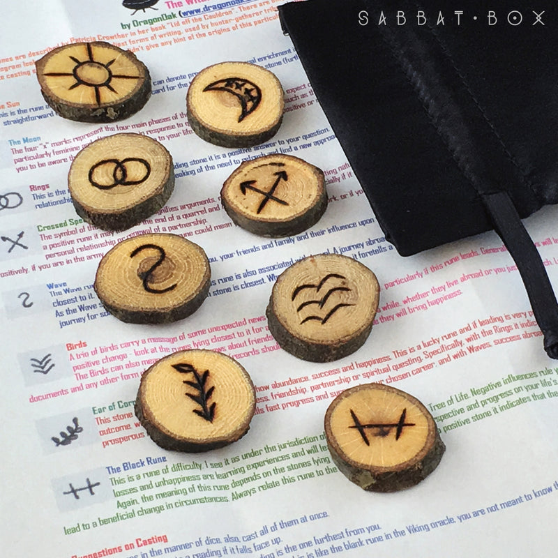 Handmade Witches Rune Set With Bag And Directions