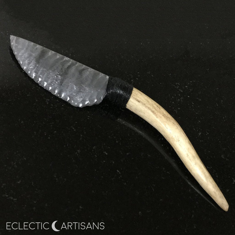 Stormy Obsidian Blade Athame w/Deer Antler Handle - 7.0 inch