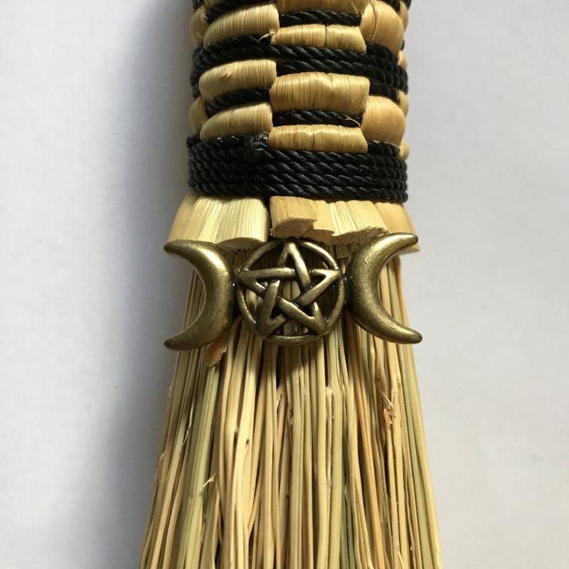 Handmade Witches Broom With Triple Moon and Pentacle Charm