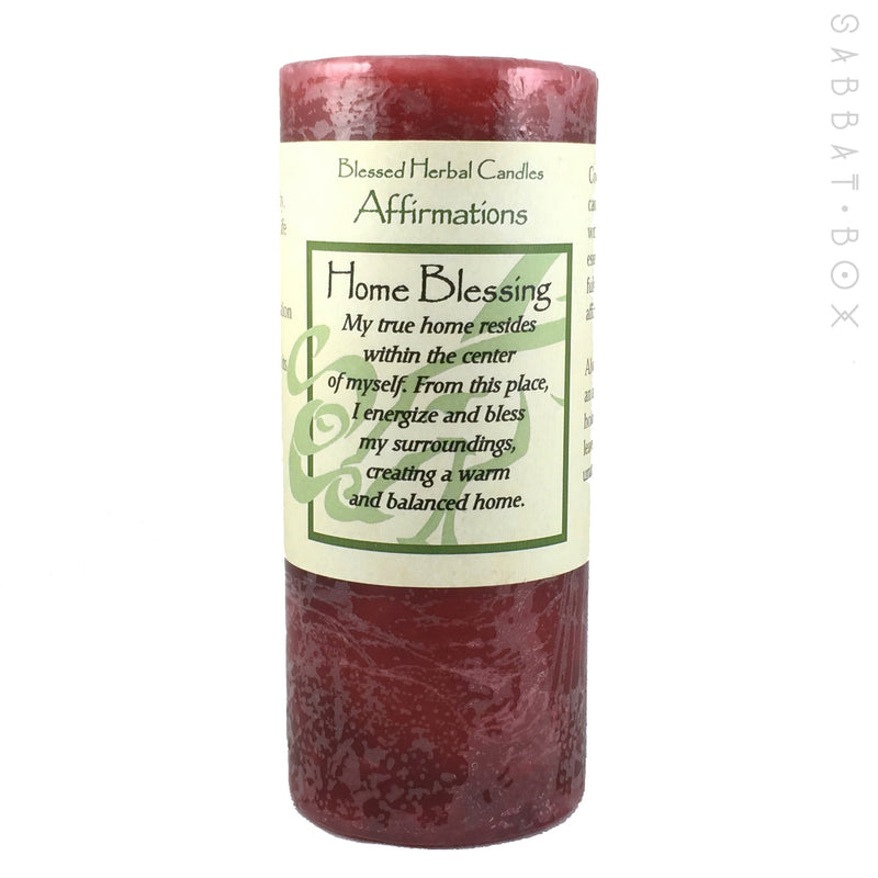 Blessed Herbal Spell Candles - Home Blessing Affirmation Pillar Spell Candle