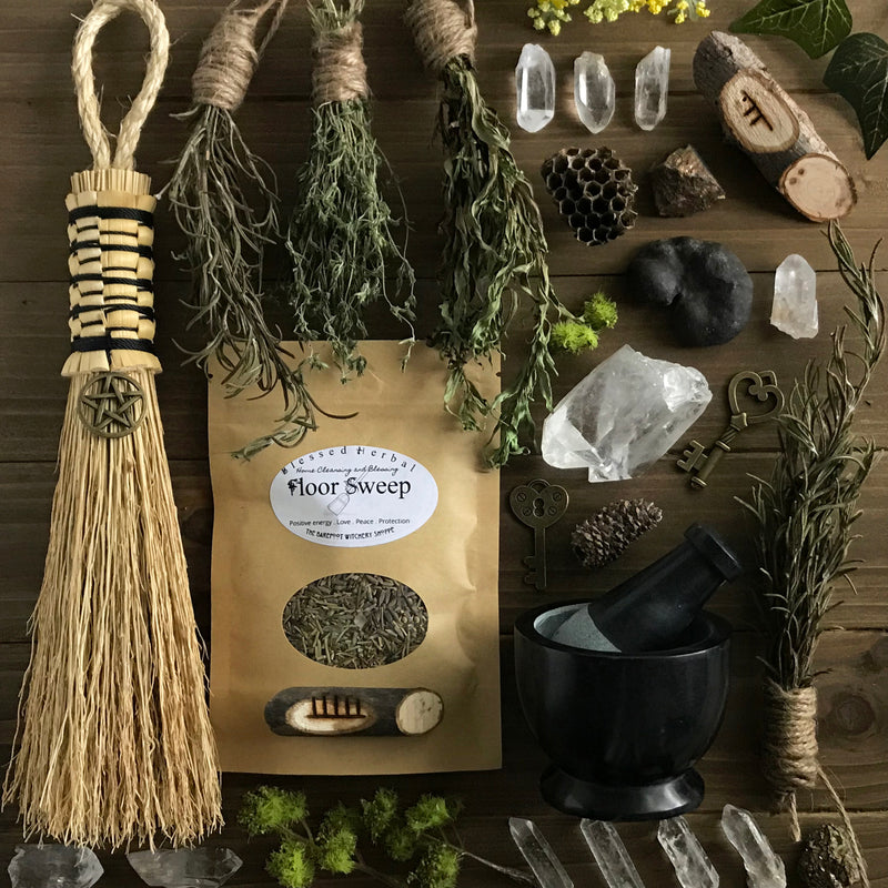 Blessed Herbal Hoodoo Floor Sweep By The Barefoot Witchery - Sabbat Box