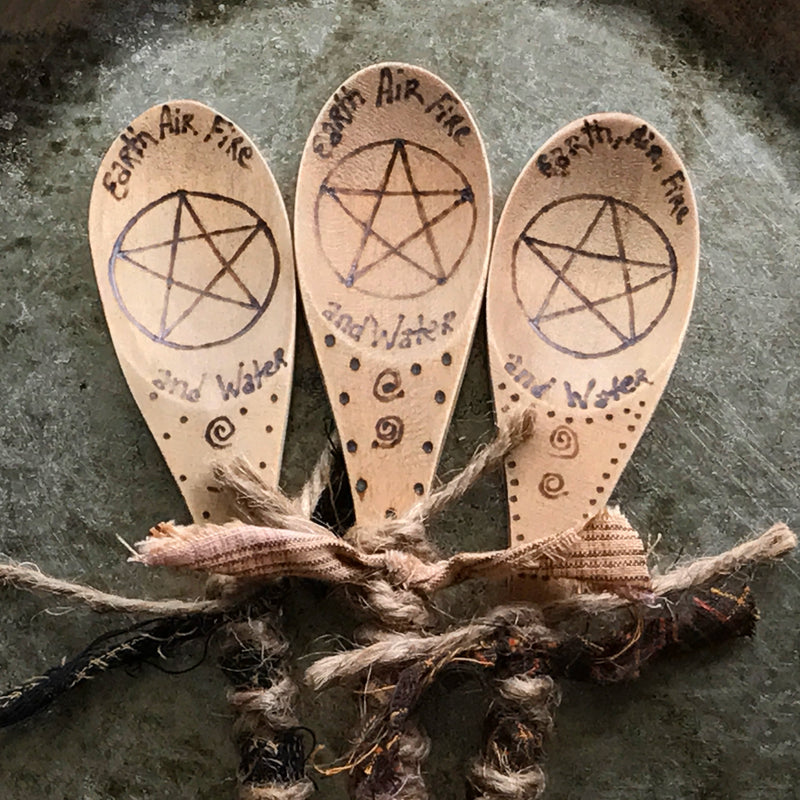 Hand Burned Elemental Pentacle Kitchen Witch Spoons - Kitchen Witch Wands - By Primitive Witchery